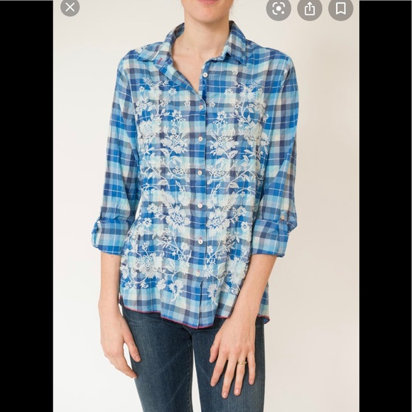Johnny Was Blue Plaid Embroidered Blouse Medium